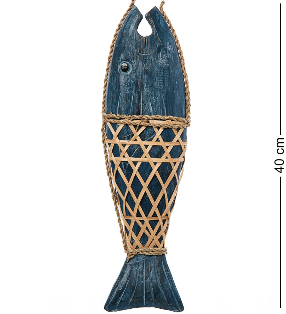 Панно рыбы из дерева (синяя) 40 см