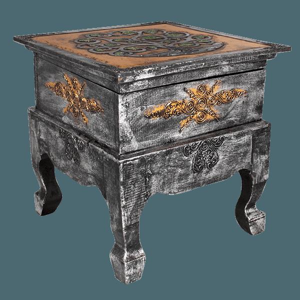 Стол с функцией сундука 40х40 см золото/серебро