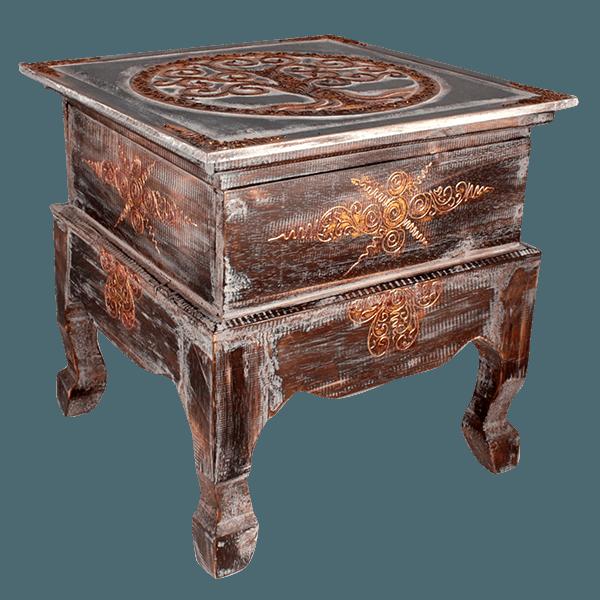 Стол - сундук 40х40 см золото/коричневый