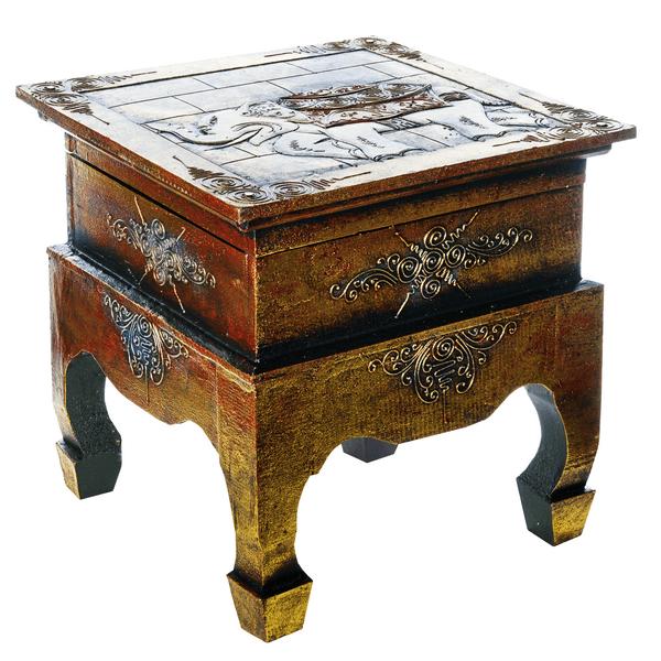 Стол - сундук с фигурой слона 40х40 см золото