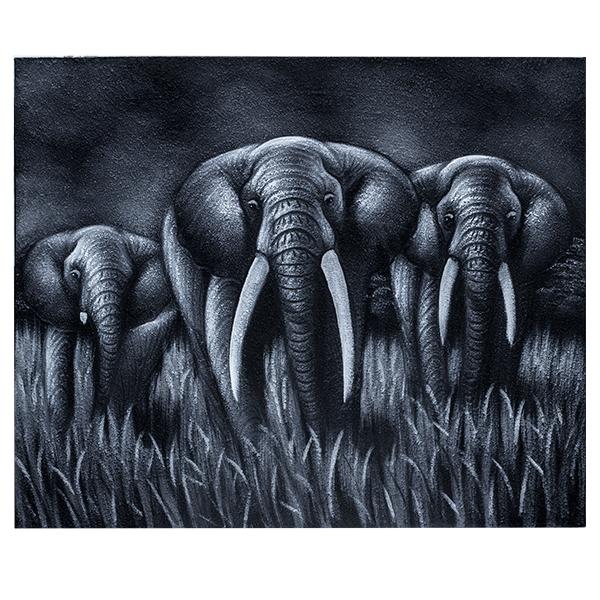 Картина Семья слонов 60х50см  (монохром) масло