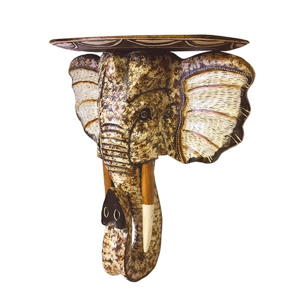 Деревянная Полка с головой слона 50х52см