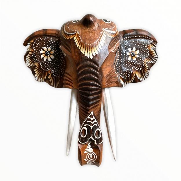 Авторский декор Голова слона из дерева 25 см