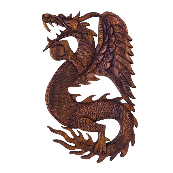 Панно резное Дракон с жемчужиной влево 25х40 см