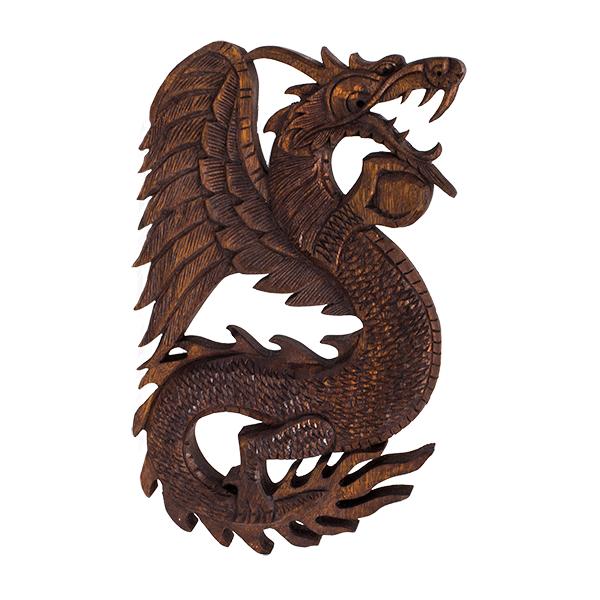 Панно резное Дракон с жемчужиной вправо 25х40 см