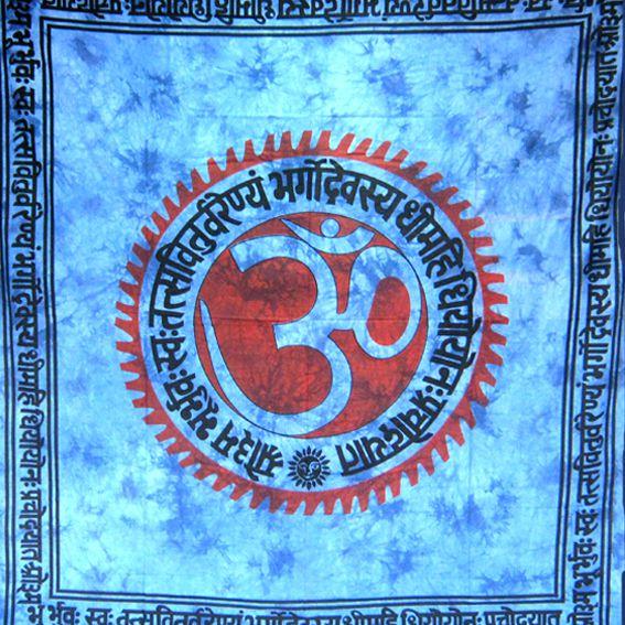 Индийское покрывало знак ОМ 100% хлопок  2,2х2,1м