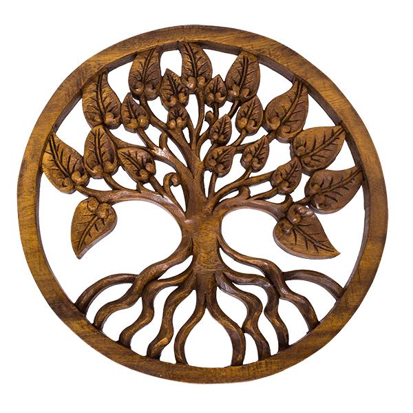 Резное панно дерево в цвету 30 см