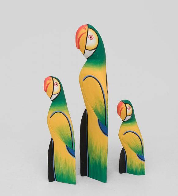 """Статуэтки из дерева """"Попугаи"""" 40, 30, 20 см"""