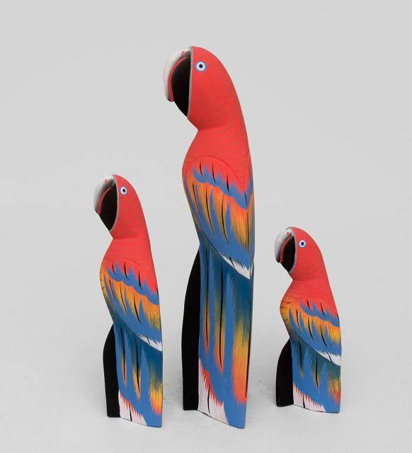 """Набор фигурок """"Красные Попугаи"""" 40, 30, 20 см"""