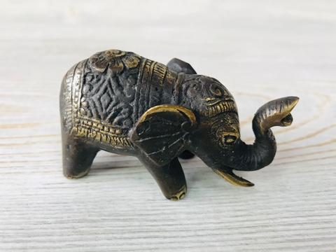 """Фигура из бронзы """"Слон хобот вверх""""  7х4 см"""