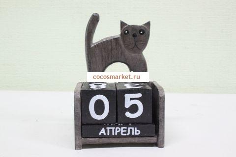 Вечный календарь Серый кот 11*7 см