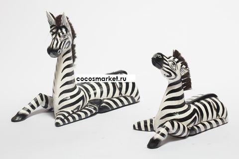 """Фигуры из дерева """"отдыхающие зебры"""" 25 и 35 см."""