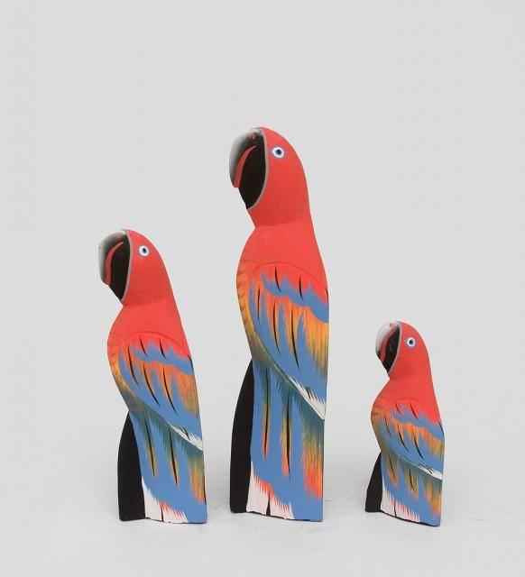 """Статуэтки """"Красные Попугаи"""" 30, 22, 15 см"""
