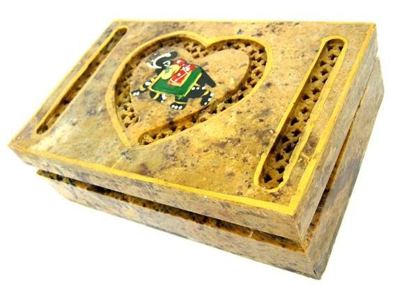 Шкатулка из камня Сердечко 15х10х4см