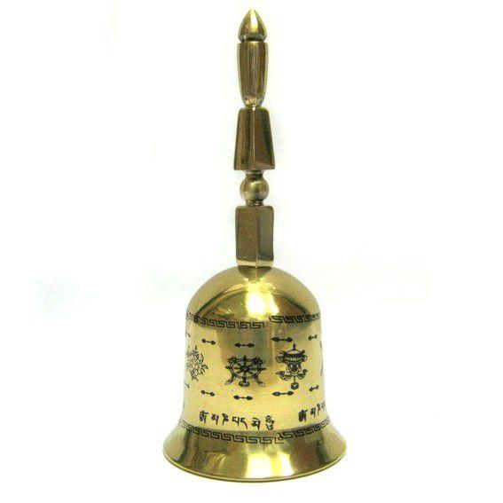 Тибетский колокол с 8 символами металл 15см
