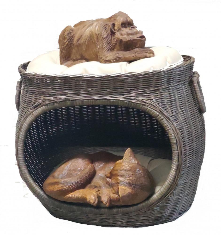 Домик для кошки двухярусный (ротанг) 53х41х50