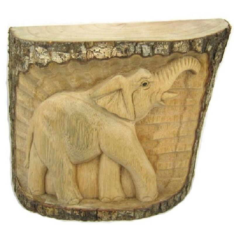 Панно - сувенир Слон 19х18см, дерево