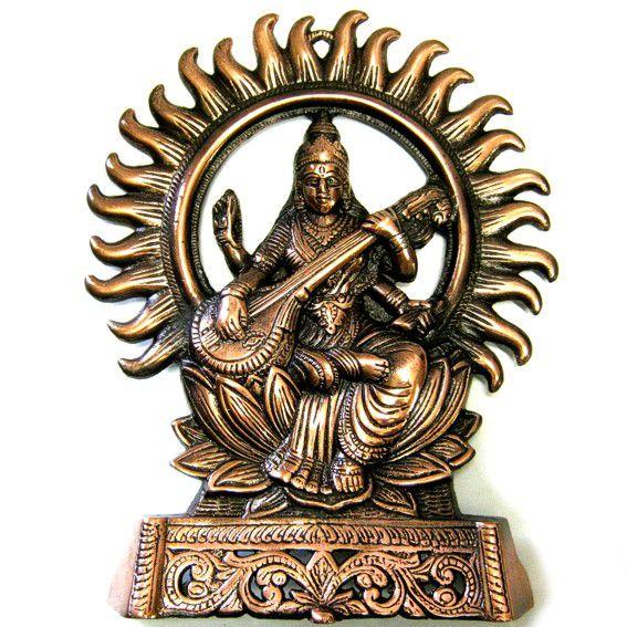 Статуэтка Богиня Сарасвати 28см, силумин