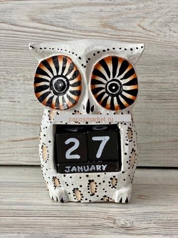 Вечный календарик Совка Белолицая  13 см