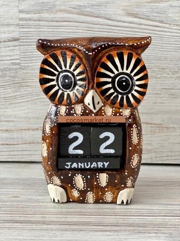 Вечный календарь сова ушастая 13см
