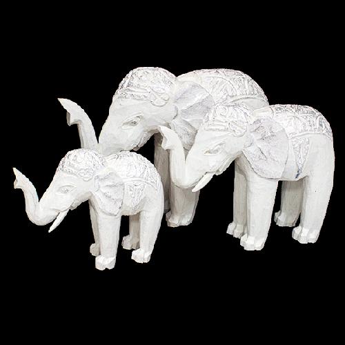 Семья белых слонов 30,24,19 см (3 шт)