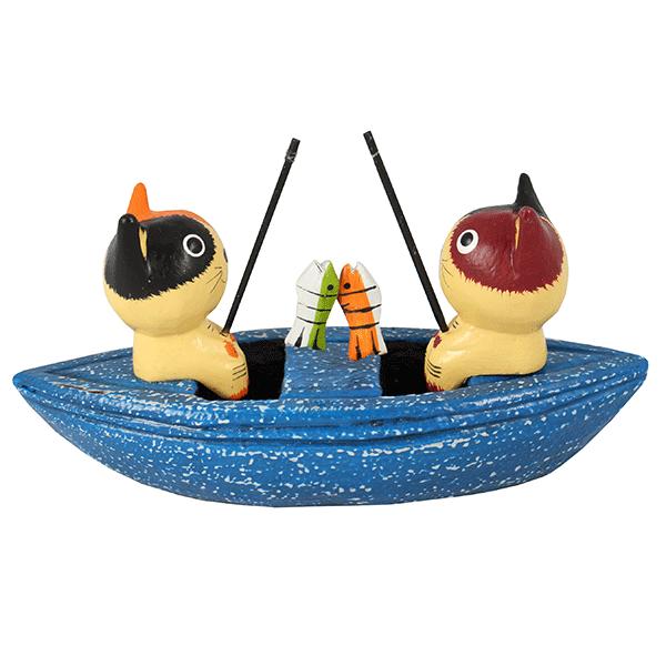 "Миниатюра ""Двое в лодке на рыбалке"" 17х10 см"