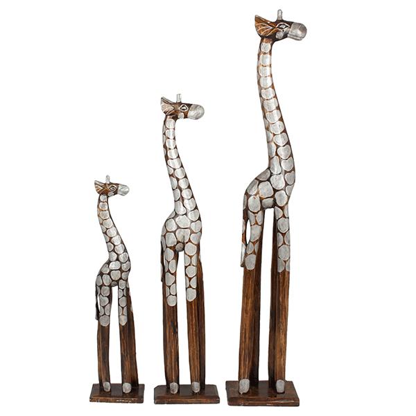 Семья жирафов 60,80 и 100 см Серебро