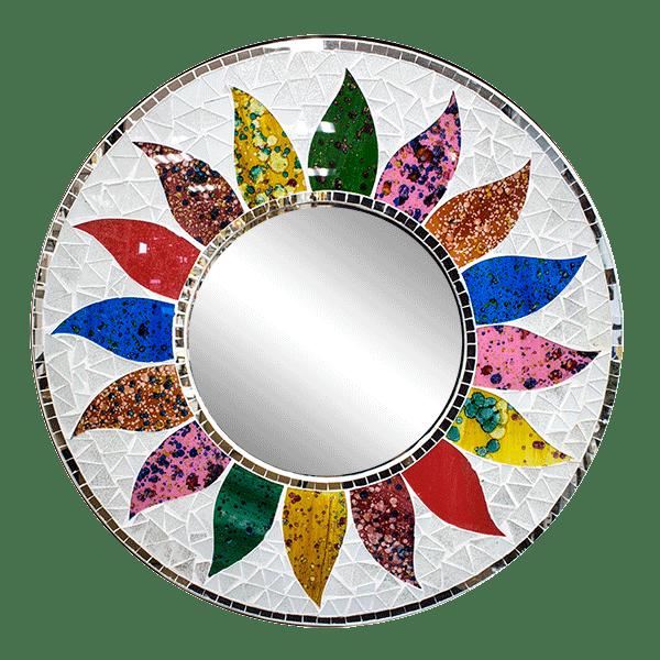 Зеркало Разноцветный цветок мозаика 60 см