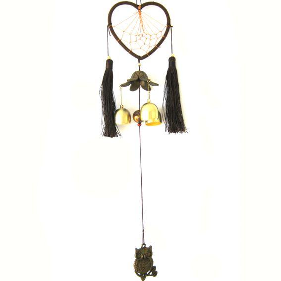 Сердечный ловец снов и китайские колокольчики 46 см