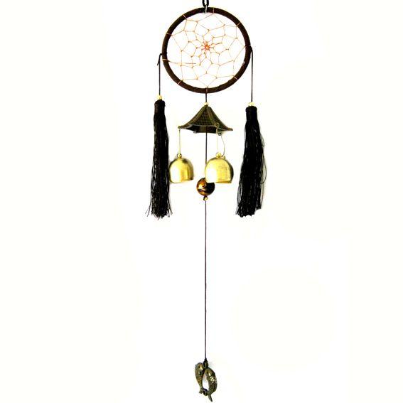 Круглый ловец снов и китайские колокольчики 46 см