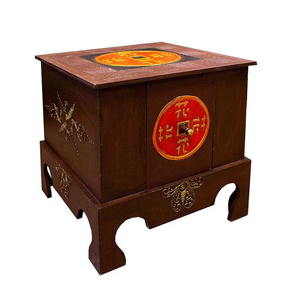 """Столик с ящиком """"Китайская монета""""  40х40 см им.кр. дерева"""