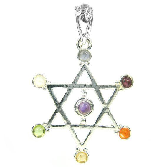 Кулон талисман Звезда Давида с чакровыми камнями  3,7см