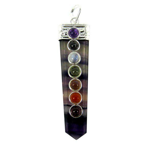 Подвеска кулон чакровый камень флюорит 6 см