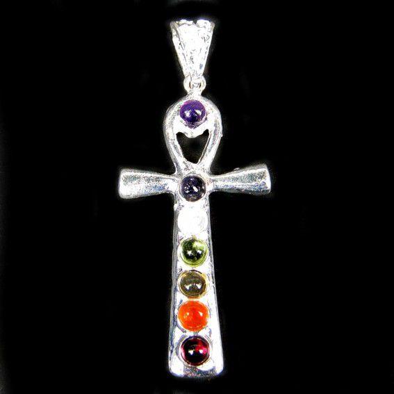 Украшение мощный крест Анкх -  Семь чакр 4,5см