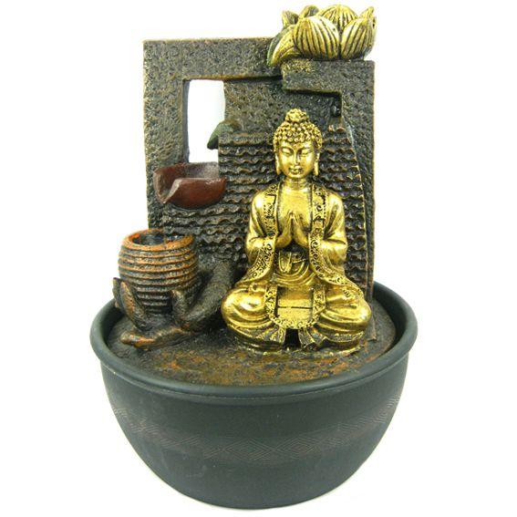 Настольный фонтан Будда и лотос  27 см