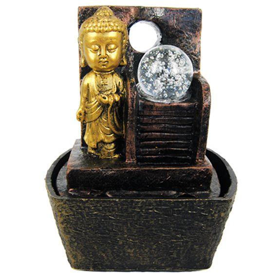 Декоративный фонтан Маленький Будда с хрустальным шаром 17 см