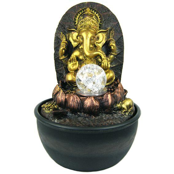 Комнатный фонтан с фигурой Ганеша на лотосе 28 см