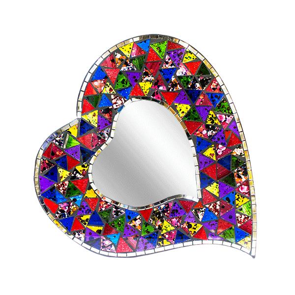 Декоративное Зеркало фигурное сердце мозаика 39х43 см
