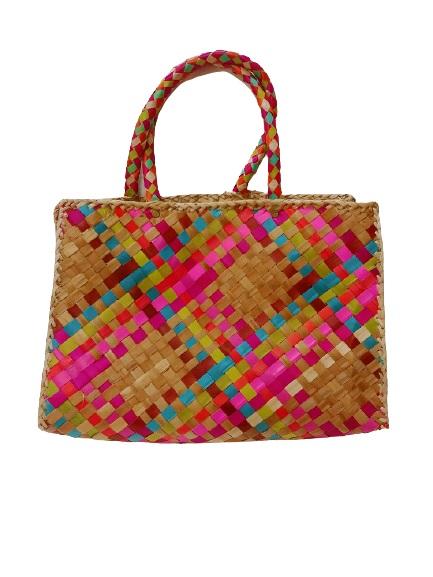 Цветная плетеная сумка Розовое настроение (S)