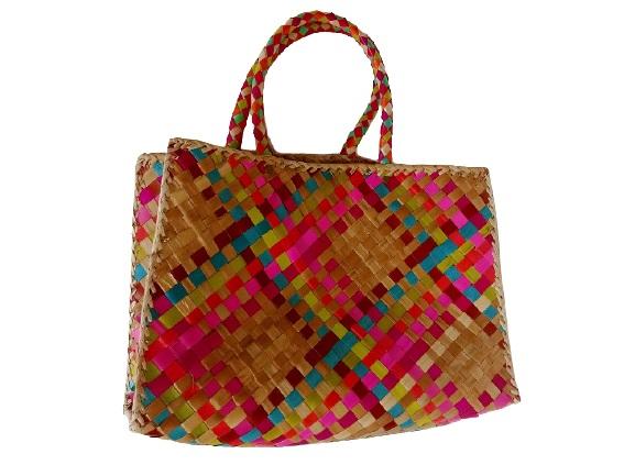 Цветная плетеная сумка Розовый закат (М)