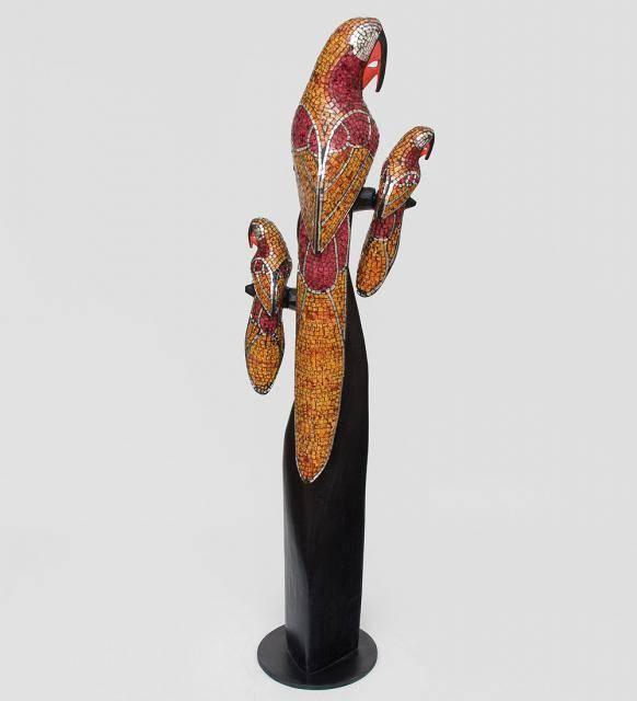 """Статуэтка """"Попугаи"""" дерево и стеклянная мозаика 100см"""