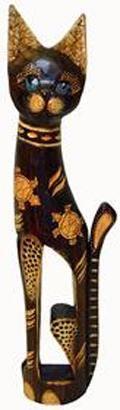 Фигура резная Кошка с декором Черепахи 80см.