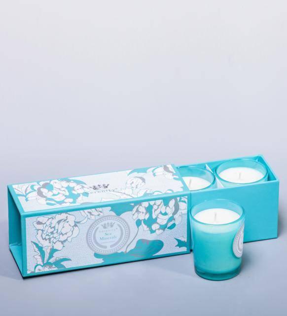 """Набор из 3 аромасвечей """"Морские минералы"""" в подарочной коробке"""