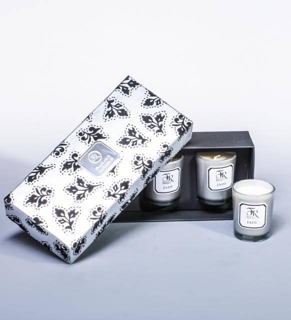 """Набор из 3 аромасвечей """"Jade Silver"""" в подарочной коробке"""