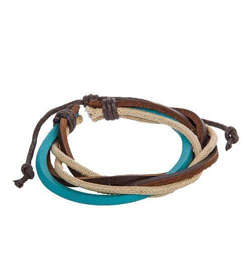 Браслет из кожи Разноцветные шнурки