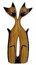 """Статуэтка """"Сиамская любовь"""" 20см. натуральное дерево махагони с фактурой"""
