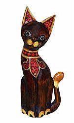 """Деревянная фигурка """"Кошка изящная в галстуке 30 см"""