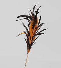 Декоративный веничек рыже-черные перья 100 см