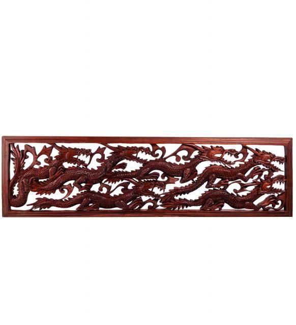 Панно настенное ДРАКОН 100 см. в рамке (красное дерево)
