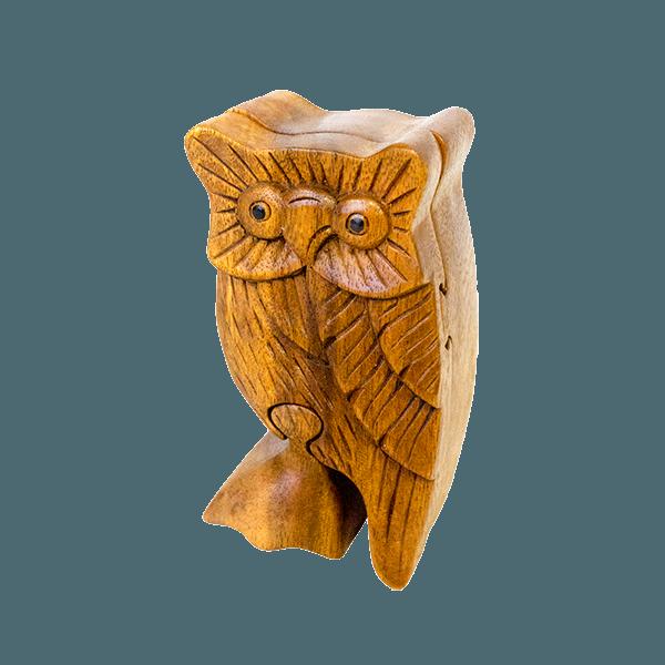 Сувенир-шкатулка с секретом Сова 12х6 см. (красное дерево)